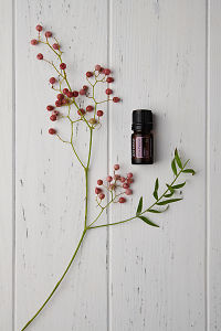 doTERRA Pink Pepper and pink peppercorn branch on a white wooden background.