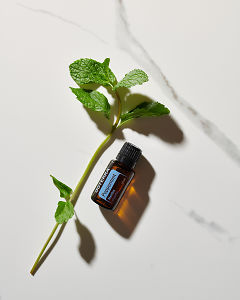 doTERRA Peppermint essential oil and a stem of peppermint leaves in direct sunlight on a white marble background.