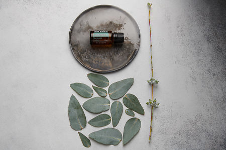 doTERRA Eucalyptus oil on distressed ceramic plate with eucalyptus leaves on white concrete background.