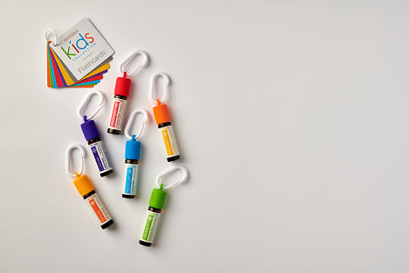 doTERRA Kids Oil Collection  oils with caps and carabiners and flashcards