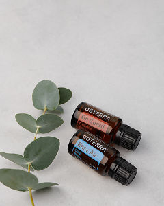 doTERRA On Guard 15ml and doTERRA Easy Air 15ml with leaves on a pale grey background.