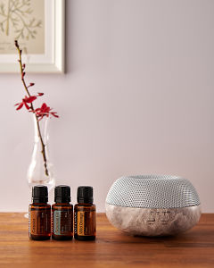 doTERRA Brevi Stone diffuser with Cedarwood, Cypress and Siberian Fir essential oils on a side table.