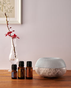 doTERRA Brevi Stone diffuser with Juniper Berry, Citrus Bliss and Frankincense essential oils on a side table.