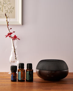 doTERRA Brevi Walnut diffuser with Ice Blue, AromaTouch and Balance essential oils on a side table.