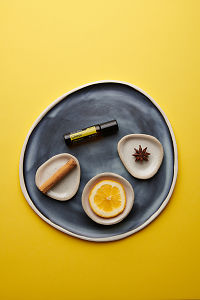 doTERRA Cheer Touch with a cinnamon stick, orange slice and star anise in individual ceramic dishes on a blue ceramic plate on a yellow card stock background.