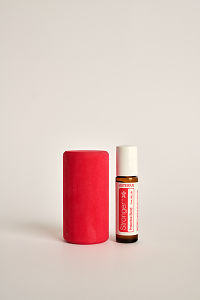 doTERRA Kids Oil Collection roll-on bottle Stronger next to a red wooden block.