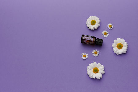 doTERRA Serenity with white flowers on a purple card stock background.