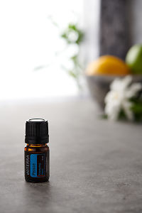 doTERRA Peace on a bench in a rustic setting near a window.