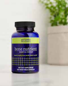 doTERRA Bone Nutrient Essential Complex on a white benchtop.