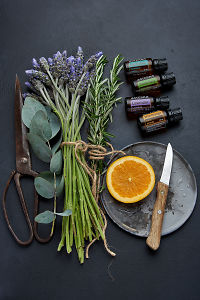 doTERRA Eucalyptus, Rosemary, Lavender and Wild Orange with eucalyptus stem, lavender flowers, rosemary stems, orange slice and rustic utensils on a black concrete background.