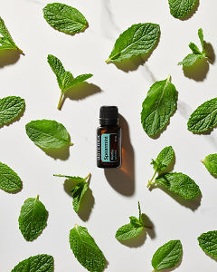 doTERRA Spearmint essential oil and spearmint leaves in direct sunlight on a white marble background.
