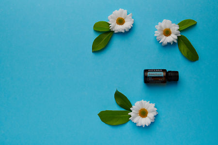 doTERRA AromaTouch with white flowers and green leaves on a blue card stock background.