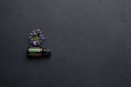 doTERRA Rosemary with rosemary flowers on a black concrete background.