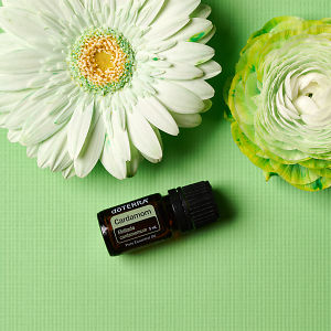 doTERRA Cardamom with green tinged flowers on a green textured background.