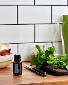 doTERRA Peppermint on a kitchen bench with fresh peppermint.