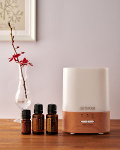 doTERRA Lumo diffuser with Cinnamon, Clove and Wild Orange essential oils on a side table.