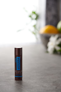doTERRA Original Lip Balm on a bench in a rustic setting near a window.