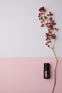 doTERRA Pink Pepper and pink peppercorn branch on a pale pink and white background.