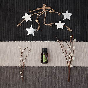 doTERRA Lemon Eucalyptus with holiday decorations on a dark, medium and light gray textured background.