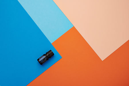 doTERRA Blue Tansy on a blue and orange geometric background.