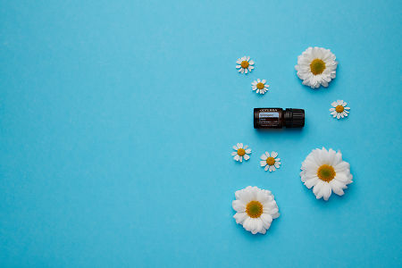 doTERRA Whisper with white flowers on a blue card stock background.