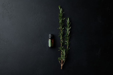 doTERRA Rosemary with a rosemary branch on a black stone background.