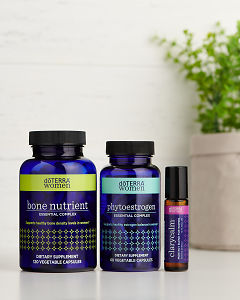 doTERRA Bone Nutrient Essential Complex, Phytoestrogen Essential Complex and Clary Calm on a white benchtop.