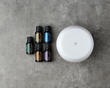 doTERRA Emotional Wellness Starter Pack on a gray stone background.