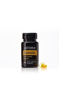 doTERRA Turmeric Dual Chamber Capsules with capsules on a white background with reflection.
