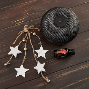 doTERRA Brevi Walnut Diffuser with Harvest Spice and holiday decorations on a brown wooden background.