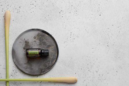 doTERRA Lemongrass on a ceramic plate with lemongrass stalks on a white concrete background.