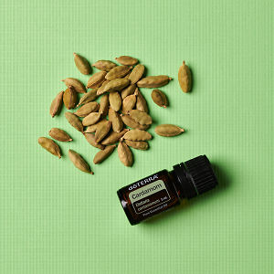 doTERRA Cardamom with cardamom seed pods in close up on a green textured background.