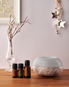 doTERRA Brevi Stone diffuser with Motivate, Douglas Fir and Citrus Bliss essential oils and holiday decorations on a side table.