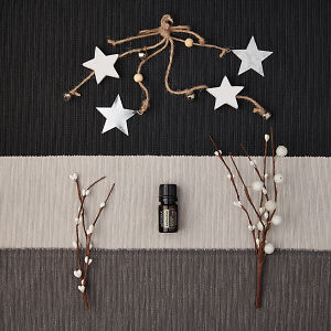 doTERRA Buddha Wood with holiday decorations on a dark, medium and light gray textured background.