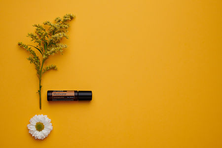 doTERRA Motivate Touch with white flowers and green leaves on an orange  card stock background.