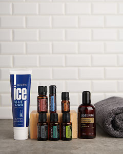 doTERRA Active Sports Wellness Box on a gray stone benchtop with space to add your message.