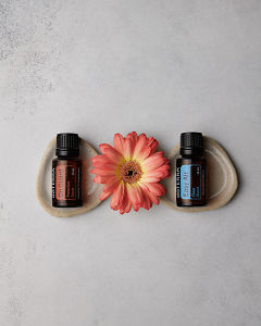 doTERRA On Guard 15ml and doTERRA Easy Air 15ml with a peach colored Gerbera on a concrete background.