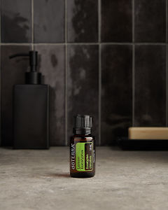 doTERRA Lemon Eucalyptus on a bathroom benchtop.