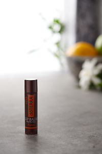 doTERRA Tropical Lip Balm on a bench in a rustic setting near a window.