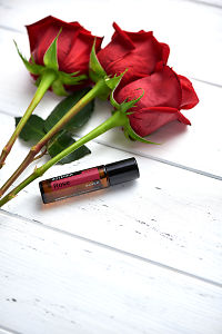 doTERRA Rose with rose stems on a white wooden background.