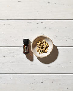 doTERRA Cardamom essential oil and cardamom seed pods in a tiny dish on a white wooden background.