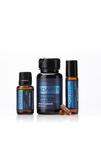 doTERRA Adaptiv, Adaptiv Capsules and Adaptiv  Touch with two capsules on a white background with reflection.