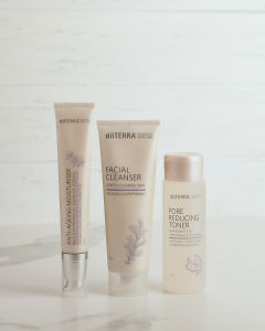 doTERRA Essential Skin Care Anti-Ageing Moisturiser, Facial Cleanser and Pore Reducing Toner on a white background.