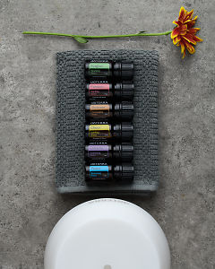 doTERRA Emotional Aromatherapy Starter Pack on a gray stone background.
