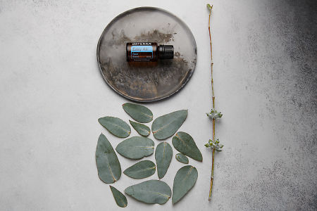 doTERRA Easy Air on distressed ceramic plate with eucalyptus leaves on white concrete background.