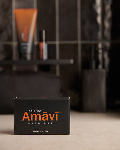 doTERRA Amavi Bath Bar on a bathroom bench.