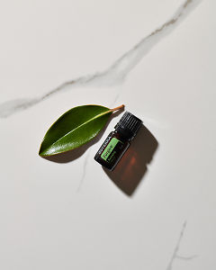 doTERRA Forgive essential blend and a leaf in direct sunlight on a white marble background.