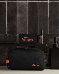 doTERRA Amavi Touch, Amavi Bath Bar and an Amavi bag in a bathroom.