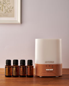 doTERRA Lumo diffuser with Wild Orange, Ginger, Clove and Frankincense essential oils on a side table.