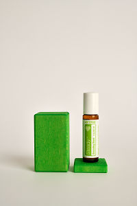 doTERRA Kids Oil Collection roll-on bottle Steady on a green wooden block.